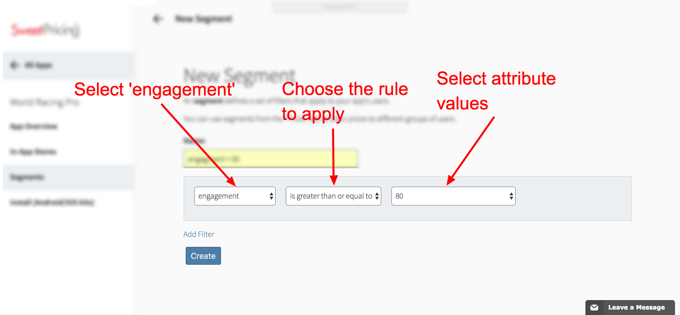 You define a segment by a series of filter rules. Select 'engagement' for the attribute.