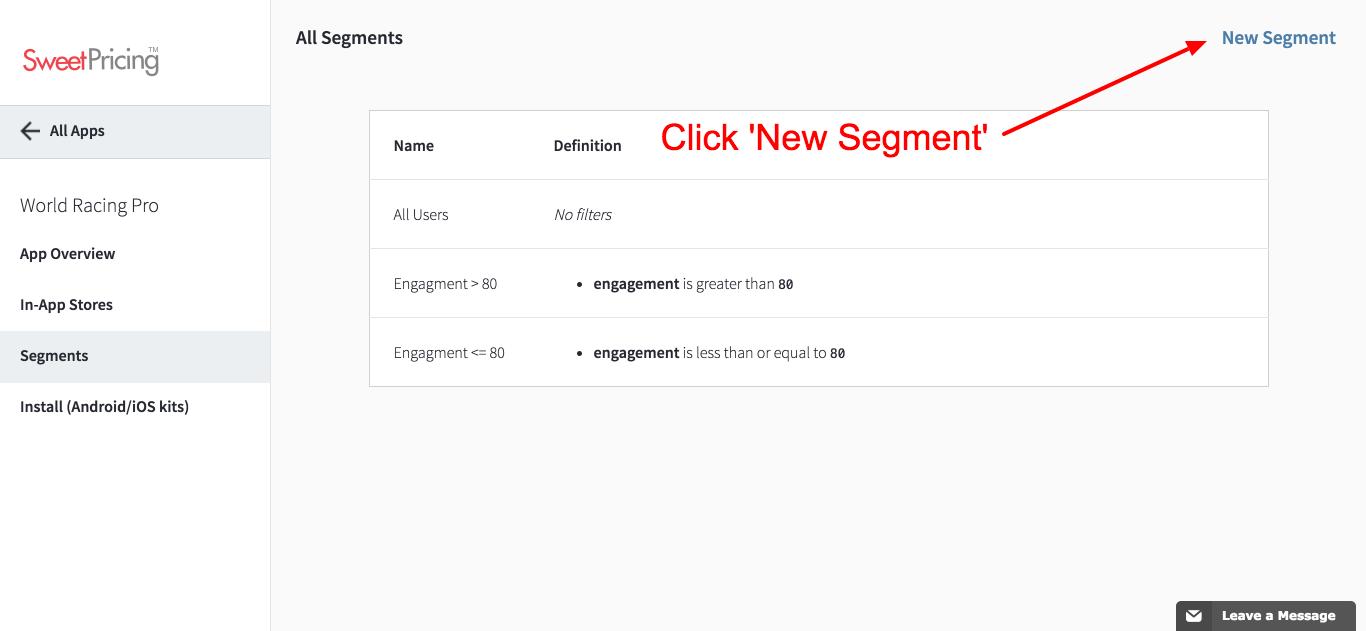 Click 'New Segment' to create a new user segment.