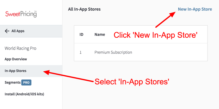 Select 'In-App Stores' and click 'New In-App Store'.