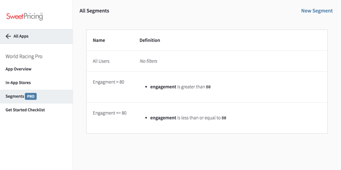 The 'Segments' tab shows you a list of mobile segmentation groups you have defined.