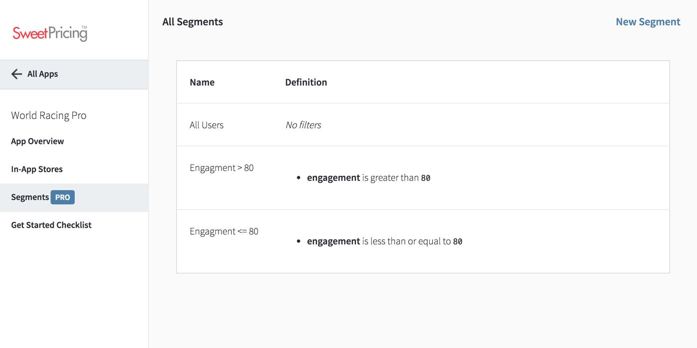 Mobile Segmentation - Create a New User Segment - Sweet Pricing