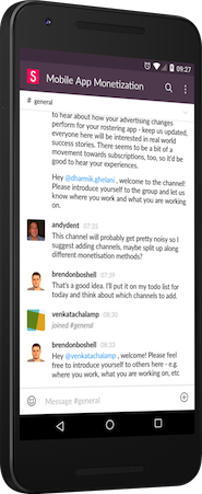 Mobile App Monetization Slack Channel on a Mobile Device